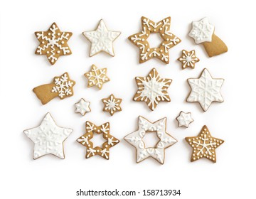 Gingerbread cookies on white background. Snowflake, star. Isolated white background.