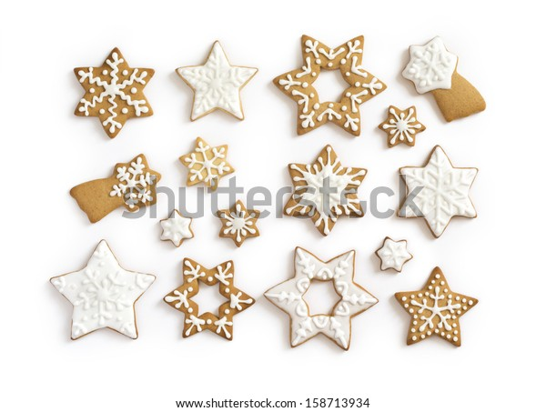 Gingerbread Cookies On White Background Snowflake Stock Photo Edit