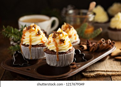 Gingerbread cupcakes with caramel sauce for Christmas