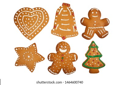 Gingerbread figures isolated on white