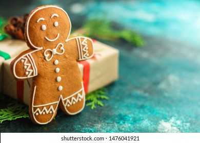 gingerbread. gifts and holiday, happy New Year. festive background. food background. top view