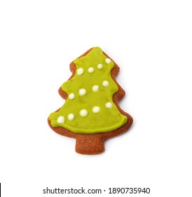 Gingerbread ginger Christmas tree isolated on a white background.