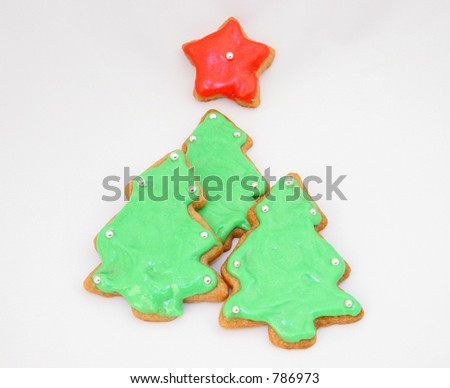 Gingerbread Green Tree Cookies Red Star Stock Photo Edit Now