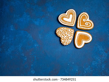 Gingerbread Heart Cookies on a blue background.