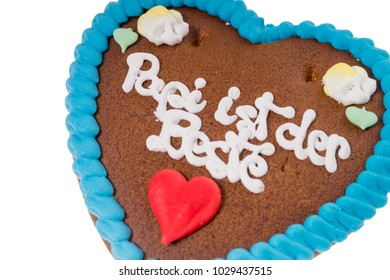 gingerbread heart with the german words Daddy is the best