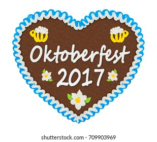 gingerbread heart with Oktoberfest 2017 lettering isolated on white background