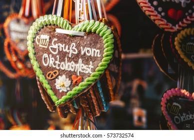 gingerbread heart with oktoberfest greetings