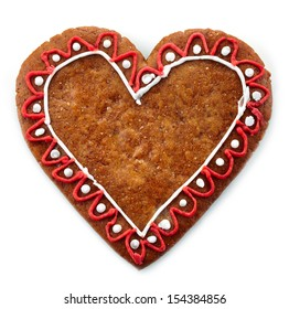 Gingerbread heart on white background