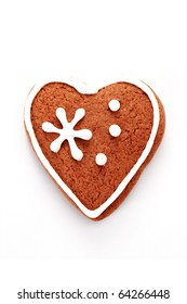 gingerbread heart on white background - sweet food
