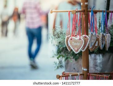 "Gingerbread heart with Text ""Danke"" in a pedestrian area, Austria"