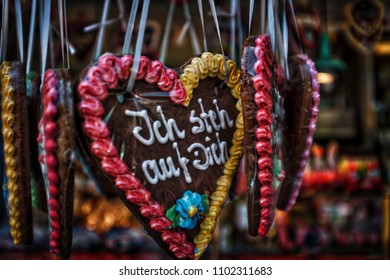 gingerbread hearts are traditionally grown on funfairs in Germany