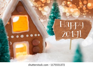 Gingerbread House, Bronze Bokeh Background, Text Happy 2019