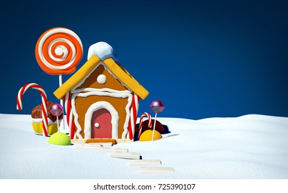 Gingerbread house with candy on snow field, front view. 3d illustration.