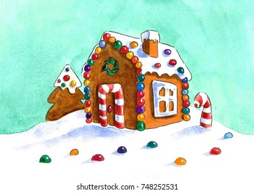 Gingerbread house with candy (watercolor illustration)