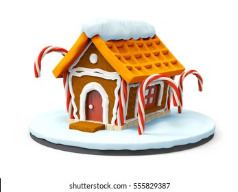 gingerbread house cartoon isolated on white. 3d illustration