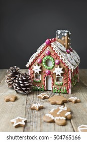 Gingerbread house with christmas decoration