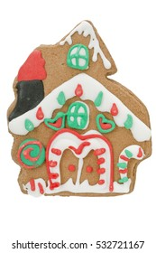 Gingerbread house christmas festive cookie isolated on white