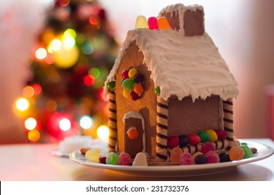 Gingerbread house Christmas lights background