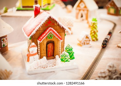 Gingerbread house in the Christmas village on the  fair