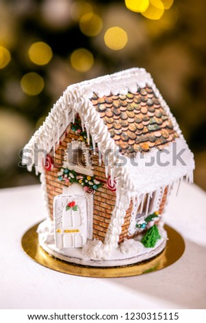 Gingerbread House Front Defocused Lights Christmas Stock