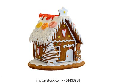 Gingerbread house. Isolated, white background.