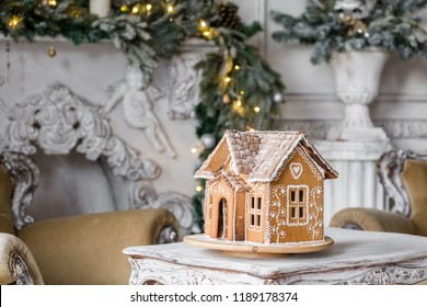gingerbread house in living room. Christmas morning. Wonderful holiday mood