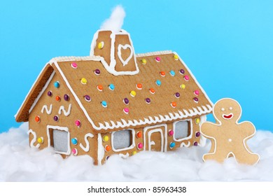 Gingerbread house with gingerbread man