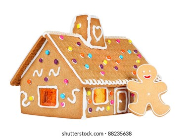 Gingerbread House with Gingerbread Man, Isolated On White