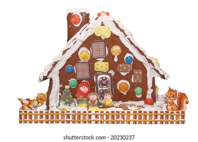a gingerbread house, on white