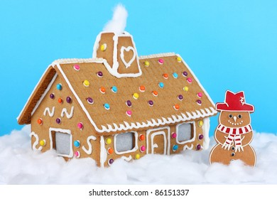 Gingerbread house with Gingerbread Snowman