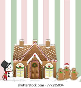 Gingerbread House with snowman and gingerbread men on striped background.  Celebrating Christmas Holidays