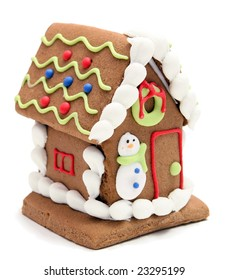 gingerbread house with snowman on white background