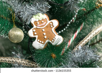 Gingerbread man cookie, freshly made, on a Christmas tree