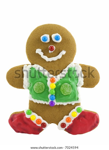Gingerbread man decorated with candy
