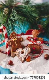 Gingerbread man. Homemade cookies. Christmas decoration