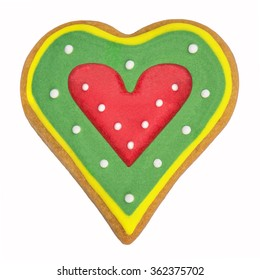 Gingerbread red heart cookie on a white background