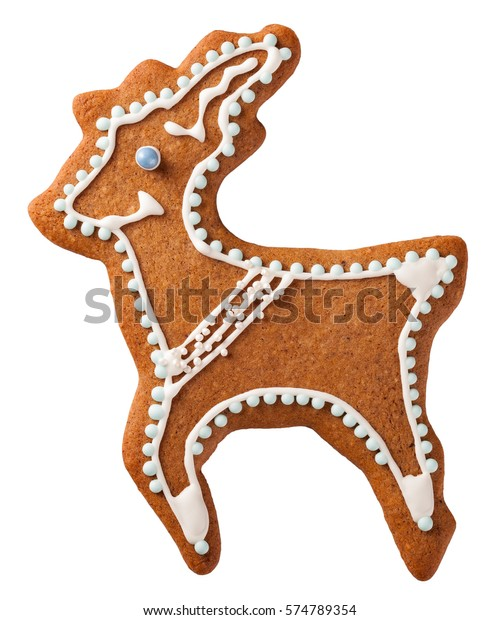 Gingerbread Reindeer Cookie Isolated On White Stock Photo Edit Now
