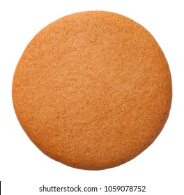 Gingerbread round cookie isolated on white background. Top view