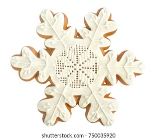 gingerbread snowflake on white background