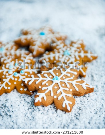 Gingerbread Snowflakes Over White Background Stock Photo Edit Now