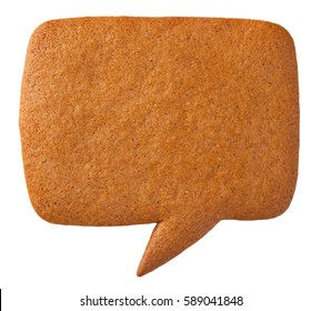 Gingerbread speech bubble cookie isolated on white background. Top view