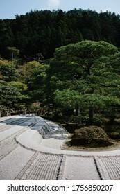 Ginkaku-ji Silver Pavilion during the sakura season in Kyoto, Japan.