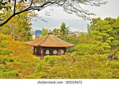 Ginkakuji (Silver Pavilion) is a Zen temple along Kyoto's eastern mountains (Higashiyama). In 1482, shogun Ashikaga Yoshimasa built his retirement villa on the grounds of today's temple.