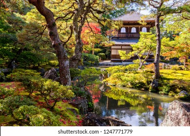 Ginkaku-ji (Temple of the Silver Pavilion) during the autumn momiji season in Kyoto, Japan