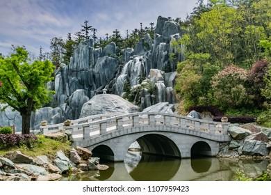 Ginkgo Lake Park Bridge Architecture Landscape, Nanjing City, Jiangsu Province