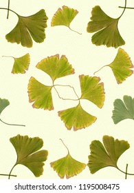 Ginkgo leaves - decorative composition on watercolor background. Seamless pattern. Use printed materials, signs, objects, websites, maps, posters, postcards, packaging.