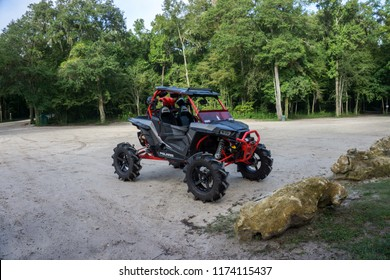 GINNIE SPRINGS, FL. USA - AUGUST 1 2018. Private RZR sport side by side used by the campers to move around the natural park