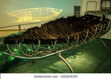 Ginosar, Israel - January 17 2018: The Ancient Galilee Boat (Jesus boat) is an ancient fishing boat from the 1st century AD, discovered in 1986.