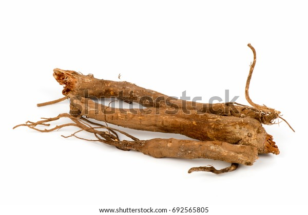 Ginseng on white background.
