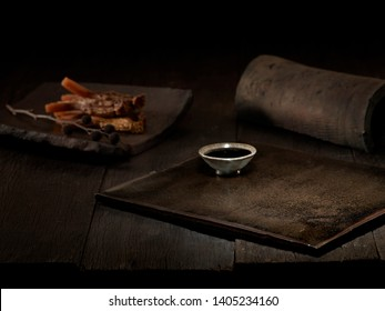 the ginseng on wooden dark background